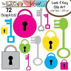 Locks & Keys Clip Art Set!  72 colorful graphics!  $
