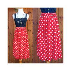 Polka Dot Skirt High Waisted Elastic High Waist Red Minnie Midi A-line Skirt Vintage 80's 1980's Rockabilly Retro Pinup Size XS Small