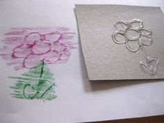 Crayon rubbings. Make shapes with glue gun on cardboard (cereal boxes)