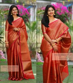 PV 3953 : Golden RedPrice : 4800 RsShine bright in this festive favourite. Red muslin silk sari with all over golden zari and rich borderUnstitched blouse piece : running blouse piece For Order 07 January 2019 Bridal Sarees South Indian, Bridal Silk Saree, Indian Silk Sarees, Indian Beauty Saree, Saree Wedding, Silk Saree Blouse Designs, Bridal Blouse Designs, Wedding Saree Collection, Saree Trends