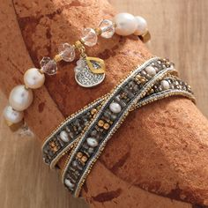 Down to Earth Stretch Bracelet and Layers of Luxury Wrap Bracelet.