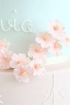 cherry blossom christening cake