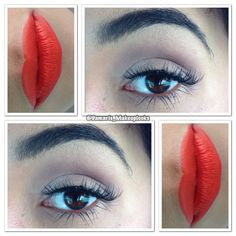 A soft light eyeshadow on lid and crease and lashes it's all I did on this look and a bold lipstick. All the attention goes to the lips.