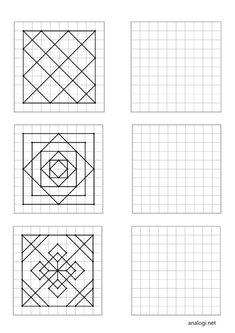 Graph Paper Drawings, Graph Paper Art, Geometric Drawing, Geometric Art, Symmetry Math, Visual Perception Activities, Blackwork Cross Stitch, Paving Pattern, Art Education Projects