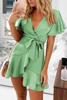 Sexy V Neck Lotus Edge Women Short Sleeve Mini Dresses Cheap Dresses, Sexy Dresses, Casual Dresses, Short Dresses, Summer Dresses, Mini Dresses, Sundress With Sleeves, Holiday Dresses, Ruffle Dress
