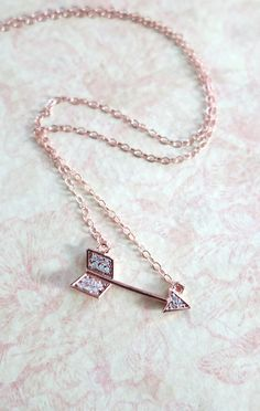 Arrow necklace - Cubic Zirconia, rose gold filled necklace, arrow pendant, edgy, chic, fun, celebrity inspired, on the mark, www.colormemissy.com