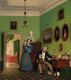 """Familien Waagepetersen"" (""The Waagepetersen Family"") by Wlhelm Bendz, Danish, 1830. Statens Museum for Kunst, nr KMS7594"