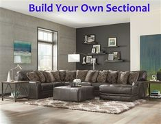 Jackson Furniture - Denali 3 Piece Sectional Sofa with Cocktail Ottoman in Steel - Grey Leather Sectional, Sectional Sofa With Chaise, Living Room Sectional, Gray Sofa, Leather Sofa, Black Leather, Grey Furniture, Upholstered Furniture, Living Room Furniture