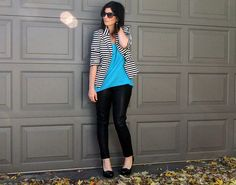 black white striped blazer blue shirt leather pants