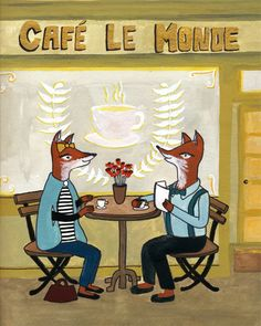 French Foxes in a Cafe