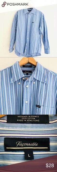Practical Tommy Hilfiger 17 34-35 Xl Mens Button Up French Cuff Blue Striped Tlc Shirt Men's Clothing Dress Shirts
