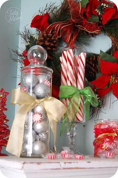 You can find many great items for Christmas decor at your local dollar store that that wont break the bank.  Details at TidyMom.net