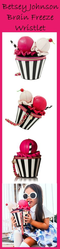 Betsey Johnson Kitsch Brain Freeze Wristlet is the ultimate accessory for the summer! Designed to look like a two-scoop ice cream! Pink & girly! #BetseyBabe #Betsey #Betsey_Johnson #Ice_cream #Sundae #Pink #Cute #Girly #Handbag #Clutch #Wristlet