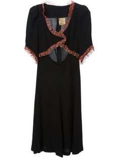 Shop Biba Vintage fitted lace trim dress -- Decades