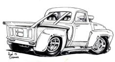 Rear pickup by ADStamper Car Drawing Pencil, Cartoon Car Drawing, Comic Drawing, Cartoon Art, Caricature Drawing, Monster Truck Coloring Pages, Cartoon Coloring Pages, Coloring Books, Cool Car Drawings