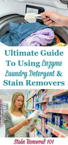 How enzyme laundry detergent and stain removers work to remove stains and get clothes clean, plus instructions for how to use them properly and effectively. {on Stain Removal Deep Cleaning Tips, Cleaning Solutions, Cleaning Hacks, Green Cleaning, How To Remove Kitchen Cabinets, Homemade Toilet Cleaner, Cleaning Painted Walls, Glass Cooktop, Laundry Hacks