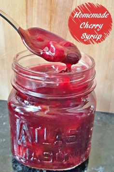 Delicious homemade cherry syrup recipe reading in just 30 minutes. Perfect to spread over pancakes or waffles for breakfast, or use as an ice cream topping for dessert. Naturally gluten free and dairy free and incredibly allergen friendly, too! Cherry Recipes, Fruit Recipes, Syrup Recipes, Pancake Recipes, Cherry Desserts, Recipies, Kebab Recipes, Crepe Recipes, Jelly Recipes