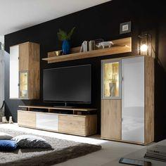 Wohnzimmer Anbauwand Aus Wildeiche Massivholz Weiß Glas (4 Teilig) Jetzt  Bestellen Unter: