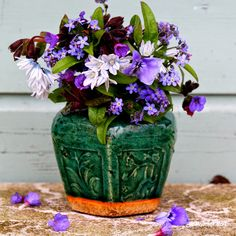 Vintage Green Glaze Vase for Purple Flowers, Great Colors! Madelief: Garden blues