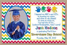 Boy Or Girl Photo Invitation Preschool Kindergarten Graduation