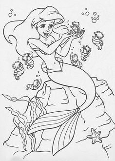The Little Mermaid Color Gallery: Coloring Images, Avatars, Icons, and other Pictures Cool Coloring Pages, Coloring Pages To Print, Coloring Books, Disney Little Mermaids, Ariel The Little Mermaid, Little Mermaid Drawings, Princess Coloring Pages, Mermaid Coloring, Color Pencil Art