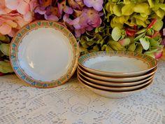6 Vintage Limoges Porcelain Bowls ~ Deco Blue Triangles Scrolls Gold #GuerinLimoges