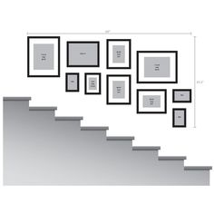 Stairway Gallery Wall, Gallery Wall Layout, Gallery Wall Frames, Frames On Wall, Picture Frames On The Wall Stairs, Picture Wall Staircase, Stairway Photos, Decorating Stairway Walls, Staircase Wall Decor
