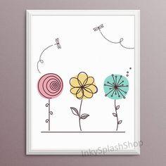 Floral Girl room art print Baby Girl Nursery printable poster Flower Teen Tween Bedroom wall decor C Doodle Drawings, Easy Drawings, Doodle Art, Wildflower Drawing, Art Carte, Flower Nursery, Mothers Day Crafts For Kids, Girl Nursery, Girl Room