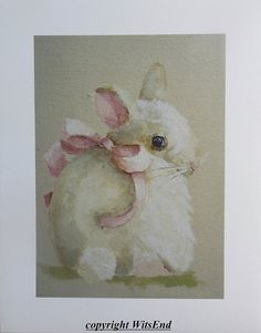 Bunny Watercolor print from original Shy Saffron by 4WitsEnd via Etsy. Select prints now available in my Etsy shop