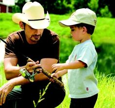 Brad Paisley and his son.... Remembering the simple things in life are often the most valuable!:) love it   www.bestbuddyfishing.com #fishing #bradpaisley