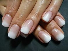 Ombre nude to white. Good for the office if you want something fun and creative, but not over the top.