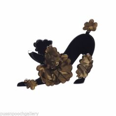 Pouncing-Paulette-Gloss-Resin-Dog-Brooch-Poodle-Black-Grey-Brown-Contrast