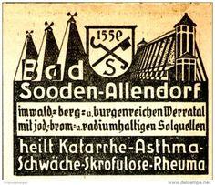 Original-Werbung/ Anzeige 1934 - BAD SOODEN - ALLENDORF HEILT KATARRHE - ca. 65…
