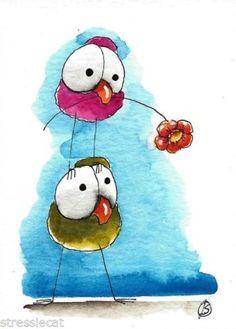 ACEO Original Acuarela Arte Pintura caprichoso Verde Rosa Birds Flower para usted | eBay!