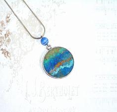 Felt Necklace Pendant Lagoon blue mint gold green by lannarfelt, $25.00