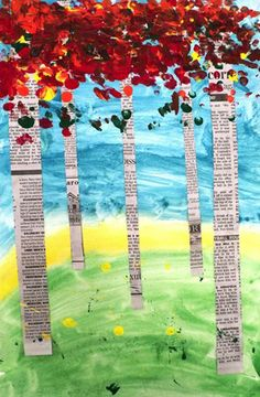 Artsonia Art Museum :: Artwork by Gerson34 Love the tree trunks being made from newspaper strips! Perfect Birch trees :)