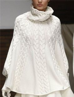 Hand Knit  White Poncho Turtleneck  with sleeves from Alpaca | tvkstyle - Knitting on ArtFire