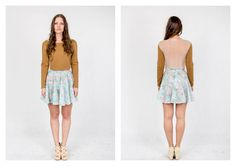 PARADOX SS15 'Details' Collection Brown quilted sweater w/ silk back  - 10 000HUF Floral printed skirt - 19.000HUF