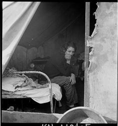 Dorothea Lange - Daughter of migrant Tennessee coal miner. Living in the American River Camp near Sacramento, California.