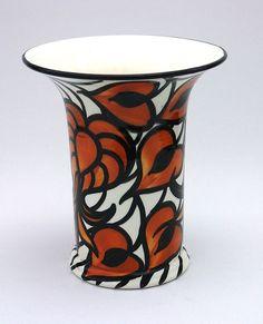 SMF Schramberg Jugendstil Vase Blattmotive Majolika   eBay