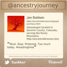 Summit County Mom, Jen Baldwin is on Twitter @ancestryjourney's Twitter profile courtesy of @Pinstamatic (http://pinstamatic.com)