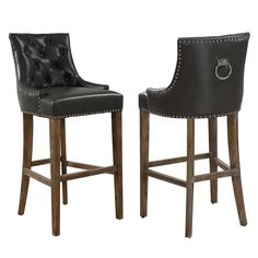 Eclectic inspiration mixes Manhattan sophistication with distinct European Flair. This counter stool features individually hand-applied silver nail heads and a matching 3.5 inch handle on the back. It is contemporary yet very ideal and comfortable.