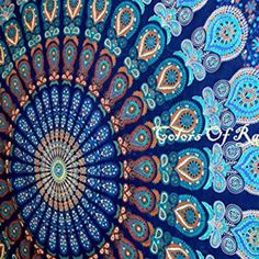 COR's Multi-colored Mandala Tapestry Indian Wall Hanging, Bedsheet, Coverlet Picnic Beach Sheet , Superior Quality Hippie Wall Tapestry or Bedspread in Organic Cotton Tree of Life 95 x 85 Inches