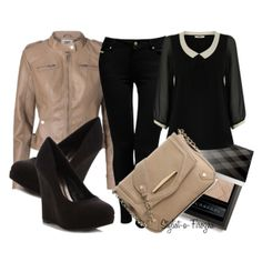 """""""Black & Nude Outfit"""" by stylist-a-firozha on Polyvore"""