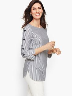 Shop Talbots for modern classic women's styles. You'll be a standout in our Button Sleeve Poplin Shirt - Stripe - only at Talbots! Kurti Sleeves Design, Kurta Neck Design, Sleeves Designs For Dresses, Dress Neck Designs, Blouse Designs, Simple Kurti Designs, Kurta Designs Women, Kurti Designs Party Wear, Trendy Tops
