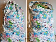 Laundry bag tutorial. I think one for each of us would be nice. I could then do clothes in the room they will be put away in.