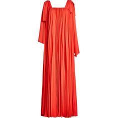 Elie Saab Pleated Crepe Maxi Dress ($2,549) ❤ liked on Polyvore featuring dresses, red, pleated maxi dress, ribbon dress, red strap dress, crepe maxi dress and red crepe dress