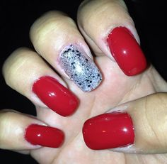 Red essie with silver glitter!