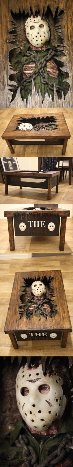 Friday the 13th Jason Table. Check us out o fb- UNIQUEINTUITIONS #uniqueintuitions #fridaythe13th #jason