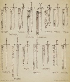 The swords of various Elves in the Silmarillion. [Have any of you read The Silmarillion?] I have!<3 it was fantastic